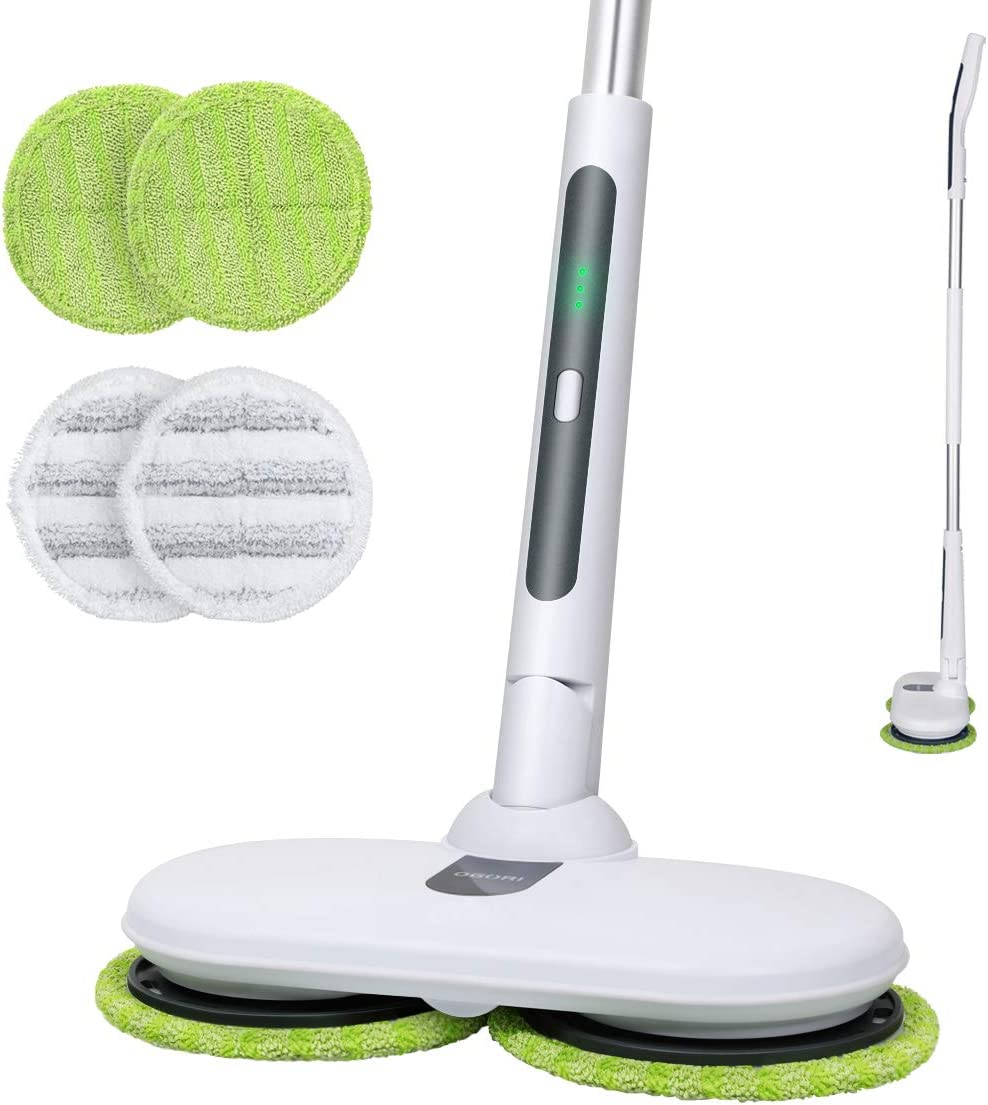 OGORI Electric Mops for Floor Cleaning Wood Floor Cleaner with 4 Reusable Microfiber Pads