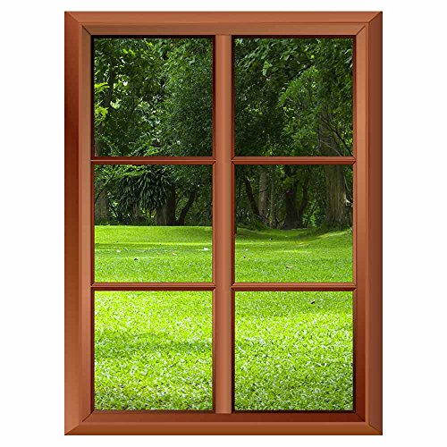 Removable Wall Sticker Wall Mural Garden with Green Grass Creative Window View Vinyl Sticker