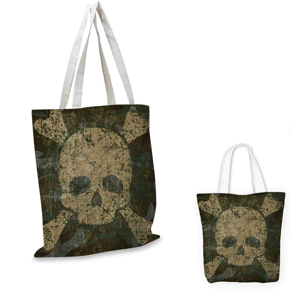 Camo canvas messenger bag Composition of Skulls Scary Head Skeletons Graphic Grunge Illustration canvas beach bag Green Pale Green Beige 12x15-10