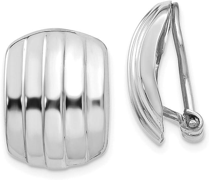 Mia Diamonds 14k White Gold 4mm x 30mm Tube Hoop Earrings