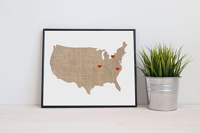Amazoncom America USA US Map Art Natural Series Wood Burlap - Us map of natural