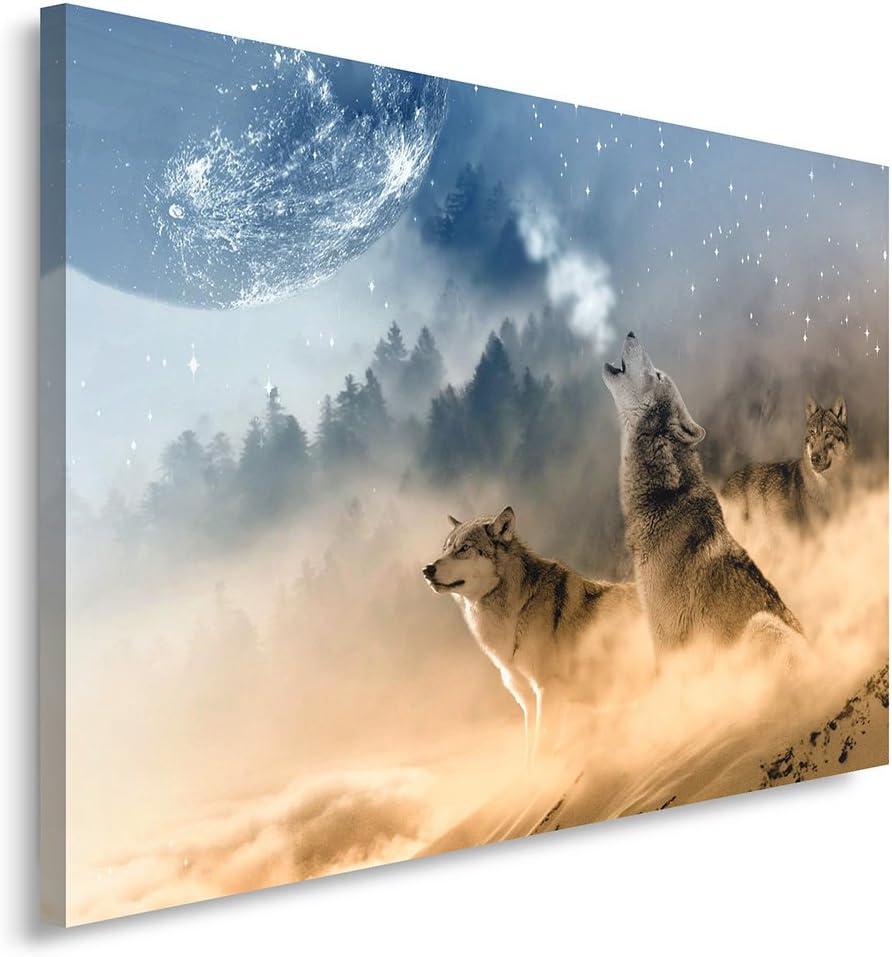 Feeby Cuadro en Lienzo - 1 Parte - 80x120 cm, Imagen Impresión Pintura Decoración Cuadros de una Pieza, Lobos, Naturaleza, Marrón