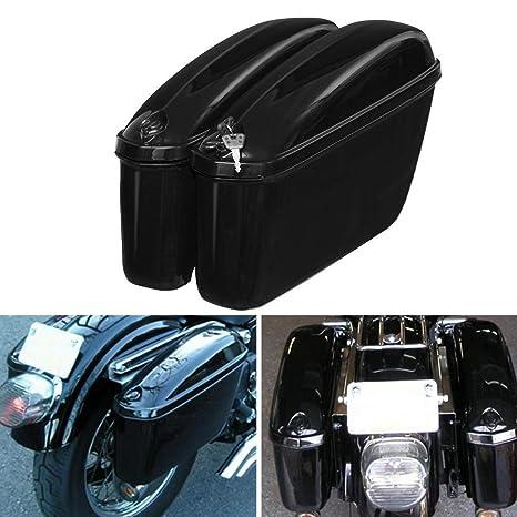 VISTARIC Bolsas de Sillãn rÃgidas Laterales para Motocicletas Negras de 22L Maletas con Soporte para Honda