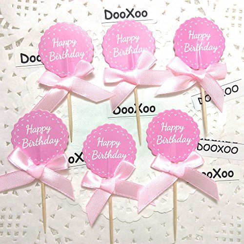DOOXOO 12pc Pink Happy Birthday Cupcake Toppers First Birthday One Toppers Personalized Toppers Birthday Toppers Cake Topper Tribal Theme