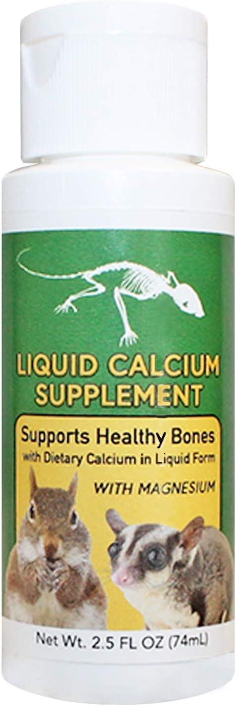 Exotic Nutrition Liquid Calcium Supplement 2 oz. - Supports Healthy Bones & Prevents Calcium Deficiencies - for Sugar Gliders, Opossums, Squirrels, Reptiles & Other Small Pets