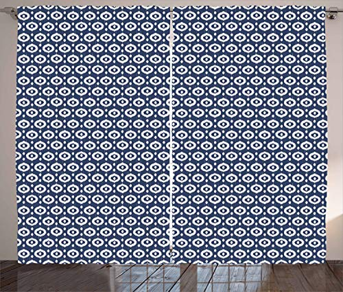 Ambesonne Ikat Curtains, Circles with Dots Tribal Ornate Pattern Ethnic Vintage Design Traditional Asian, Living Room Bedroom Window Drapes 2 Panel Set, 108 W X 96 L Inches, Dark Blue White