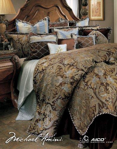 Michael Amini Portofino 12 Piece Comforter, Queen, Brown (Portofino Comforter Set)