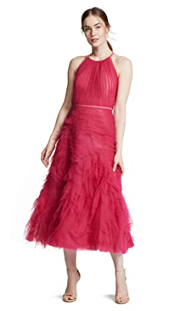 d2f9fb55 Marchesa Notte Women's Sleeveless Textured Tulle Tea Length Gown, Berry,  Pink, ...