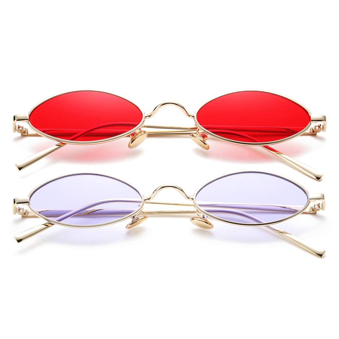 gold Red + gold Clear Vintage Small Oval Sunglasses for Women Men Hippie Cool Metal Frame Sun Glasses