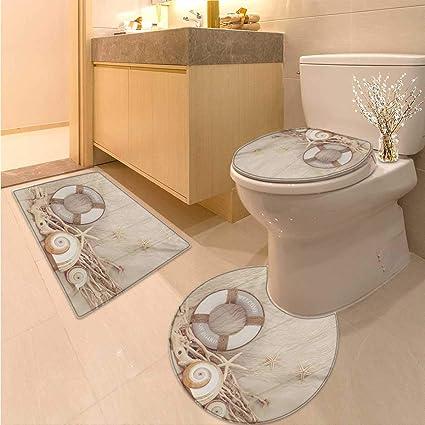 Amazon.com: Anhuthree Coastal Toilet Rug and mat Set Welcome On ...