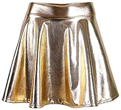 Women's Metallic Wet Liquid Faux Leather Look Flared Skater Mini Skirt