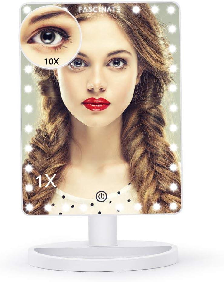 LLLLDDLLLDM LED Maquillage Miroir,Miroir de courtoisie /éclair/é vec Ampoules intensit/é r/églable Rotation /à 360 /° Magnification 10X Miroir de Maquillage Professionnel Miroir Maquillage Lumineux