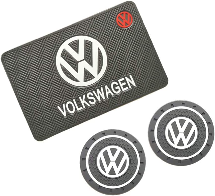 Bettway Car Anti-Slip Mats-1PC Silicone Car Dashboard Anti-Slip Mat Pad and 2PC 2.83 inch Car Cup Holder Pad Mat Car Coasters fits for VW Volkswagen Auto SUV etc (fit for VW)