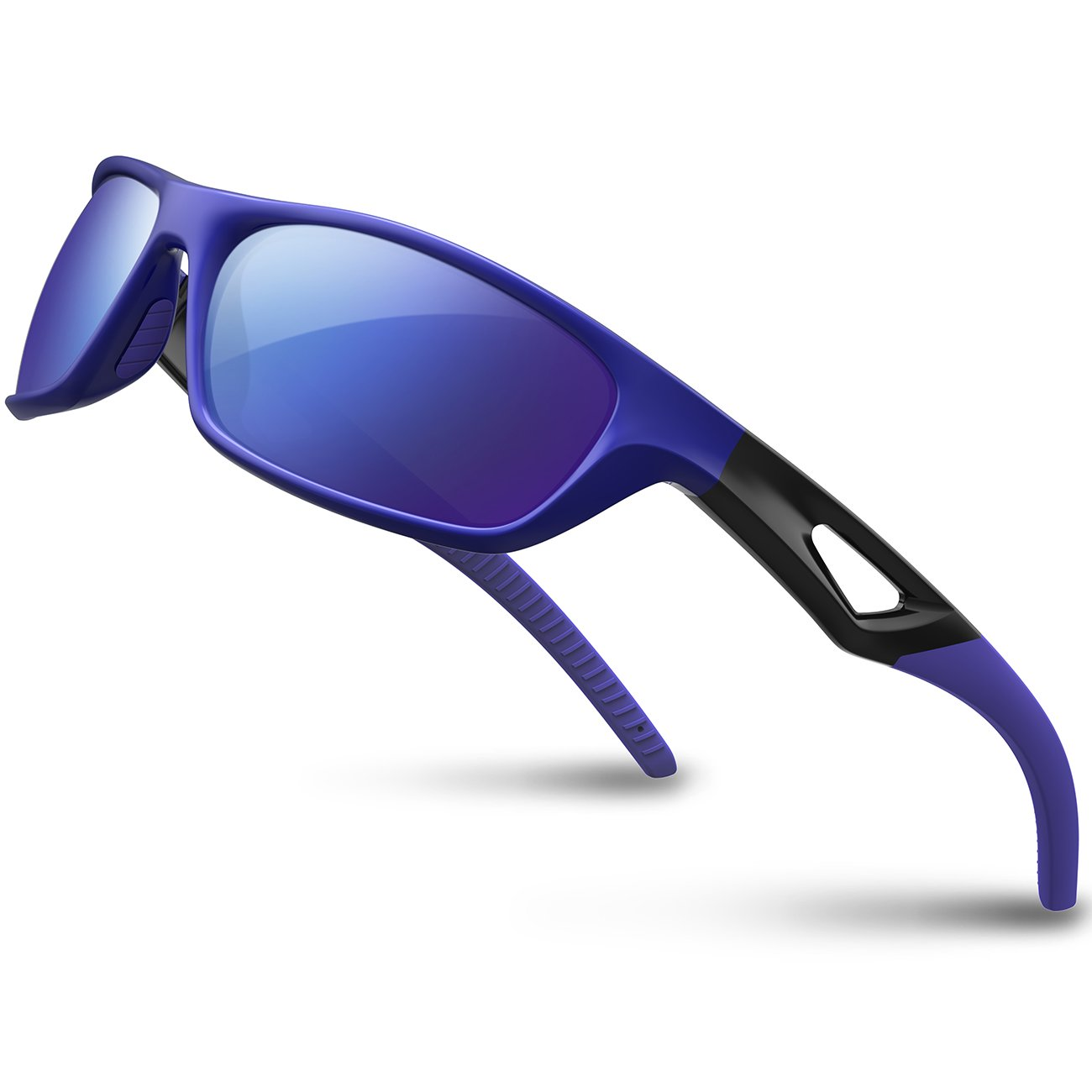 RIVBOS Polarized Sports Sunglasses Driving Sun Glasses Shades for Men Women Tr 90 Unbreakable Frame for Cycling Baseball Run Rb831 (Blue Mirror Lens)