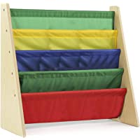 Class Kids' Book Organizer with Primary: Natural finish with bright primary bookshelves, 5 Deep Fabric Sling Sleeves, Perfect Fit for Toddlers, Easy to Assemble, Great Storage, CL16JWTR-1013