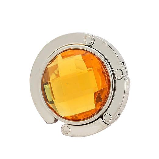 joyliveCY Plegable de diamantes bolso de mano bolso gancho percha soporte amarillo Amarillo