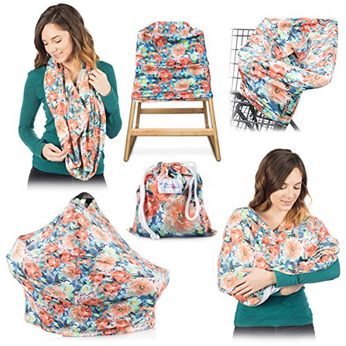 High Quality Stretchy Baby Car Seat Cover, Canopy, Nursing And Breastfeeding Cover, Kutest N' Precious, Infinity Scarf, Stroller and Shopping Cart, Baby Carrier, Multi Use (Blue and Orange)