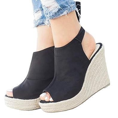 ad55e54ce7a LAICIGO Women s Wedge Espadrilles Platform Lace up Open Toe Slingback Faux  Suede Dress Sandals