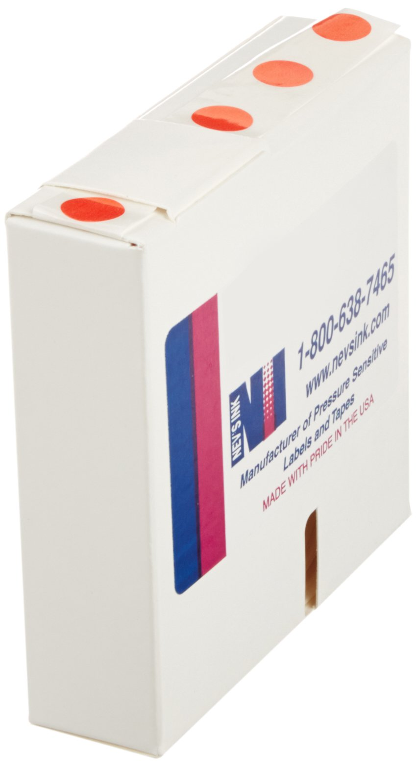Nev's Ink LCD-12-R Lab Cryogenic Dot Circle Label for 1.5ml to 2ml Tubes, 1/2'' Diameter, Red (Roll of 1000)