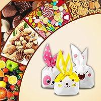 Yosemy Bolsas Regalo Cumpleaños, [100 Pcs] Bolsa de Caramero Galleta Piscolabis de Conejo, Bolsas Plástico para Frutos Secos, Caramelos, Chocolate