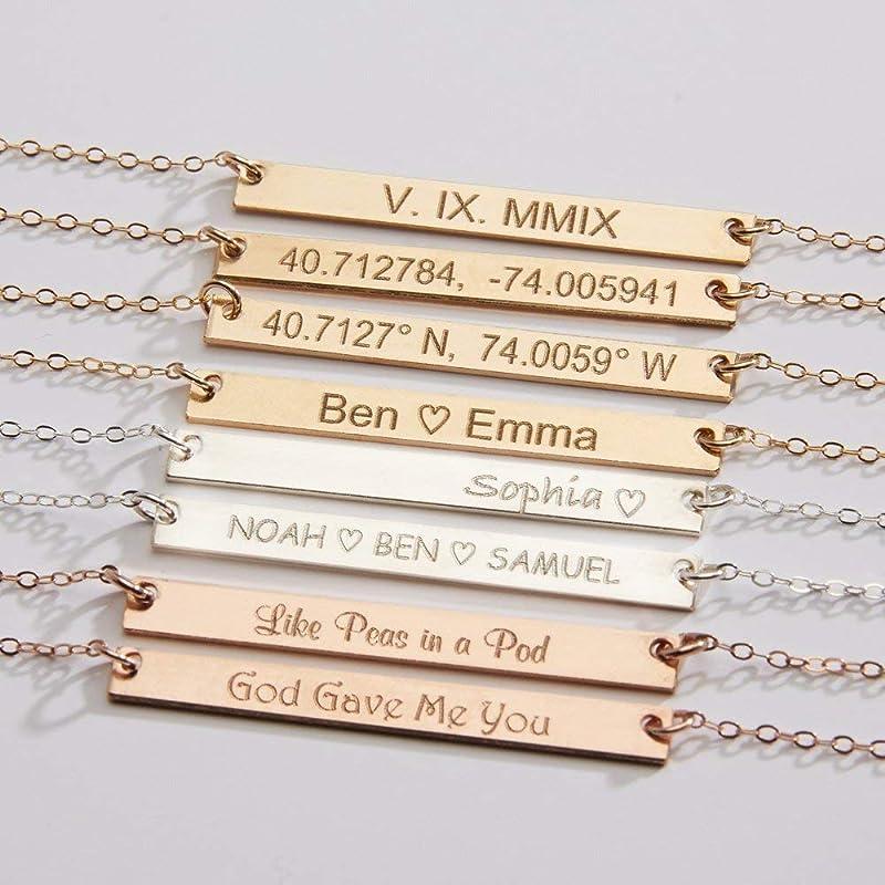 Personalized Name Plate Necklace \u2022 Inspirational Skinny Bar \u2022 Mother/'s Necklace \u2022 Rose Gold Bar Necklace \u2022 Custom Name Jewelry NM34F41