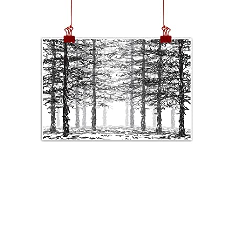 Amazon Com Warmfamily Canvas Wall Art Forest Monochrome