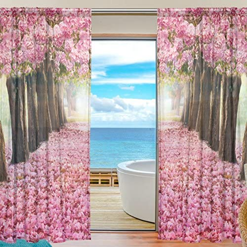 ALAZA Sheer Curtain Tree Pink Flower Cherry Blossom Voile Tulle Window Curtain