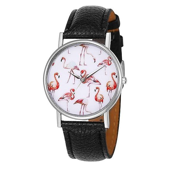 Mujer Reloj De Pulsera minimalismo estilo blanco esfera con flamencos Diseño reloj analógico Quartz Negro: Amazon.es: Relojes