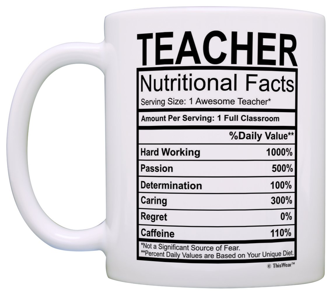Teacher Appreciation Gifts Teacher Nutritional Facts Label 2 Pack Gift Coffee Mugs Tea Cups White by ThisWear (Image #3)