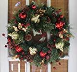 Queensbury Decorated Christmas Wreath 22inch - All Weather Outdoor (Small Image)