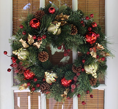 Queensbury Decorated Christmas Wreath 22 Inch - All Weather Outdoor Artificial Wreath That Lasts For Years, Handmade Designer Quality Enriches Entry, Beautiful White Gift Box And Hanging Loop - Wreath Christmas 22 Artificial