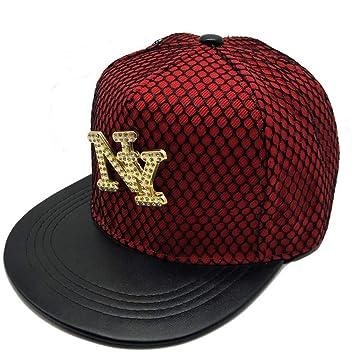 YYXXX Gorras béisbol Gorra de béisbol Tide Brand Metal NY Fashion para Hombre y Mujer a lo Largo del Tiempo Libre, Rojo Vino, Ajustable: Amazon.es: Deportes ...