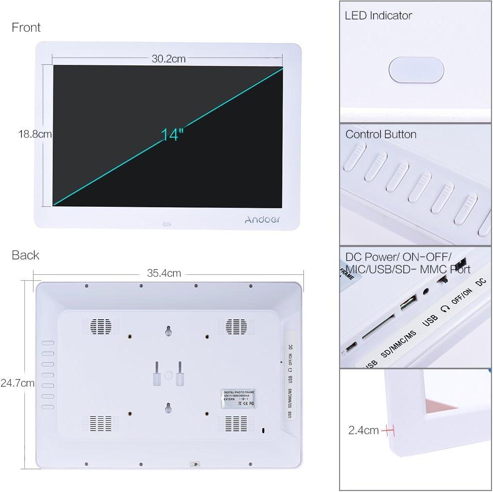 Andoer/® 8 HD TFT LCD Digitalen Bilderrahmen Fotorahmen Wecker MP3 MP4 Video Player mit Entfernten Desktop