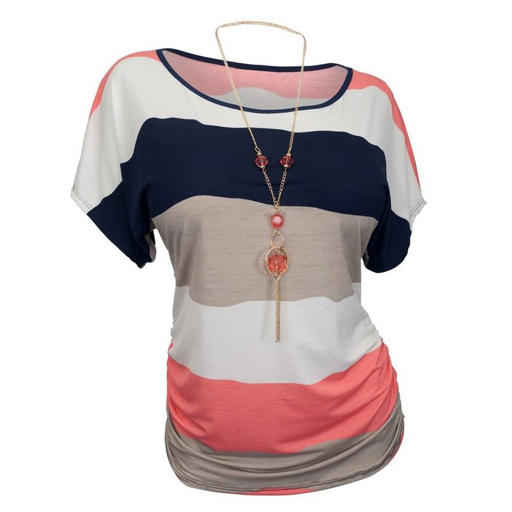YipGrace Women's Short Sleeve Plus Size Crew Neck Stripes T-shirt