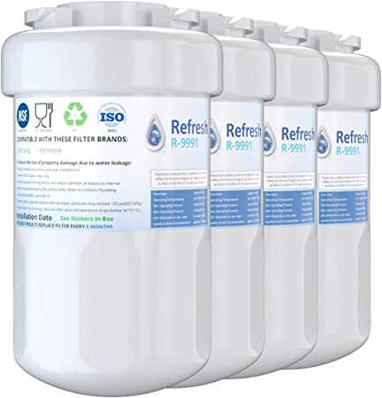 Amazon Com Refresh Replacement For Ge Smatwater Mwf Gwf Mwfp Mwfa And Kenmore 46 9991 469991 9991 Refrigerator Water Filter 4 Pack Home Improvement