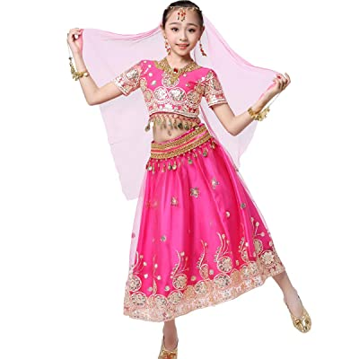 Bollywood Belly Dance Costume - Sari Noble Dance Outfit Halloween Costumes with Head Veil for Girls: Clothing