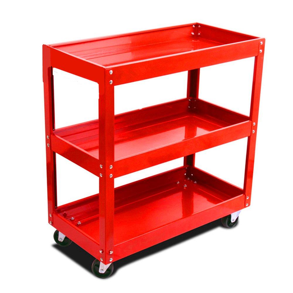 Tuff Concepts Heavy Duty Garage Trolley Workshop DIY 3 Tier Tool Storage Wheel Cart Shelf Tray (Black)
