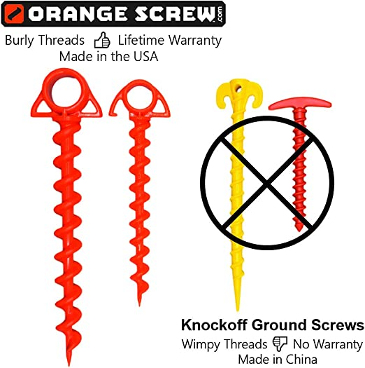 L Orange  Ground Anchor  4 pk Orange Screw  7//8 in W x 9-1//2 in