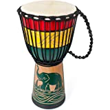 lotmusic Djembe African Drum Bongo Congo Stardard Size Mahogany Goatskin Drumhead professional (9'', Green)