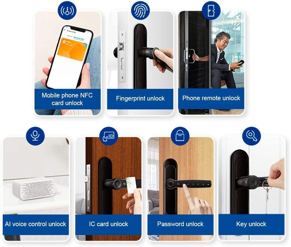 Password Unlock Bluetooth Unlock for Home Fingerprint Door Lock Support Fingerprint Unlock Office Fingerprint Smart Lock Electronic Bluetooth Door Lock Key Unlock