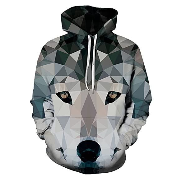 Diamante Lobo Impreso 3D Hoodies Hombres Sudaderas Animal Hooded ...