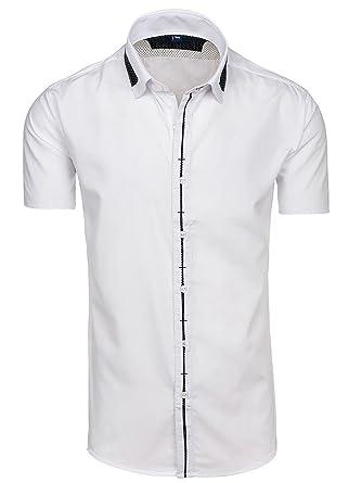BOLF Herren Herrenhemd Kurzarm Slim Fit LAVIINO 056 Weiß-Schwarz 2XL  2B2  3b41d59779