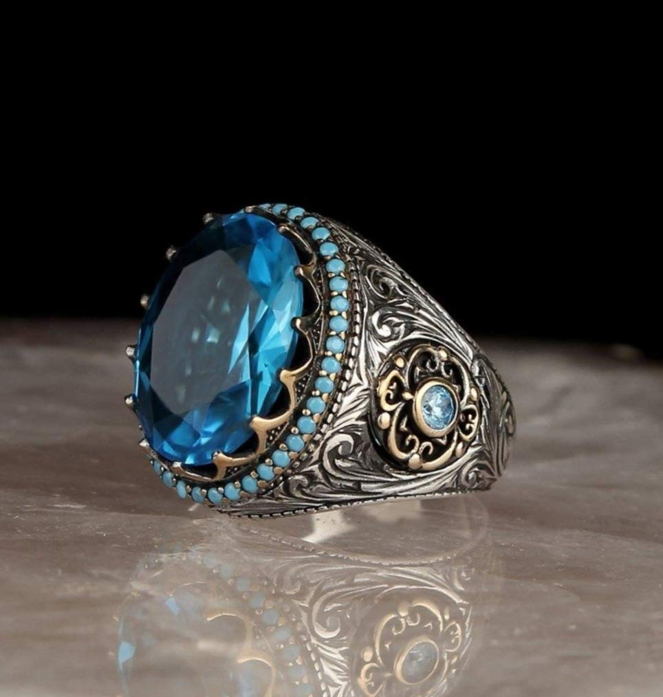 925 Sterling Silver Gold Plated personalized Aquamarine Stone Men\u2019s Ring Sterling Silver Ring
