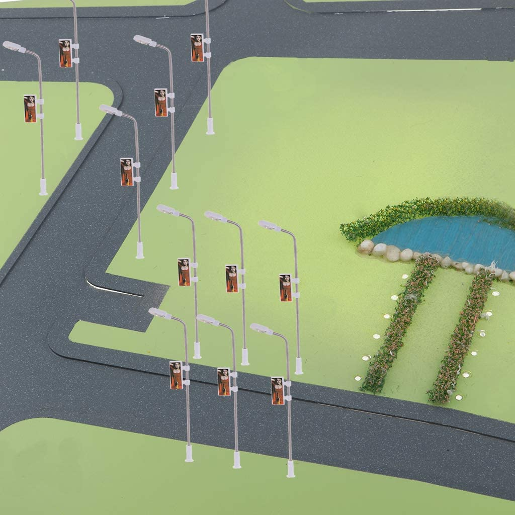 20x Mini LED Laternenpfahl Straßenlaterne 1:100 für Eisenbahn Landschaft #1