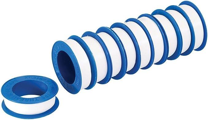 Silverline 250475 Cinta PTFE para Sellar Roscas, Color Blanco, 10 Piezas, 12 m Longitud, 12 mm Anchura