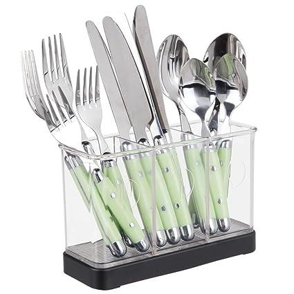 mDesign - Organizador de utensilios y cubiertos, para mesada de la cocina; guarda espátula
