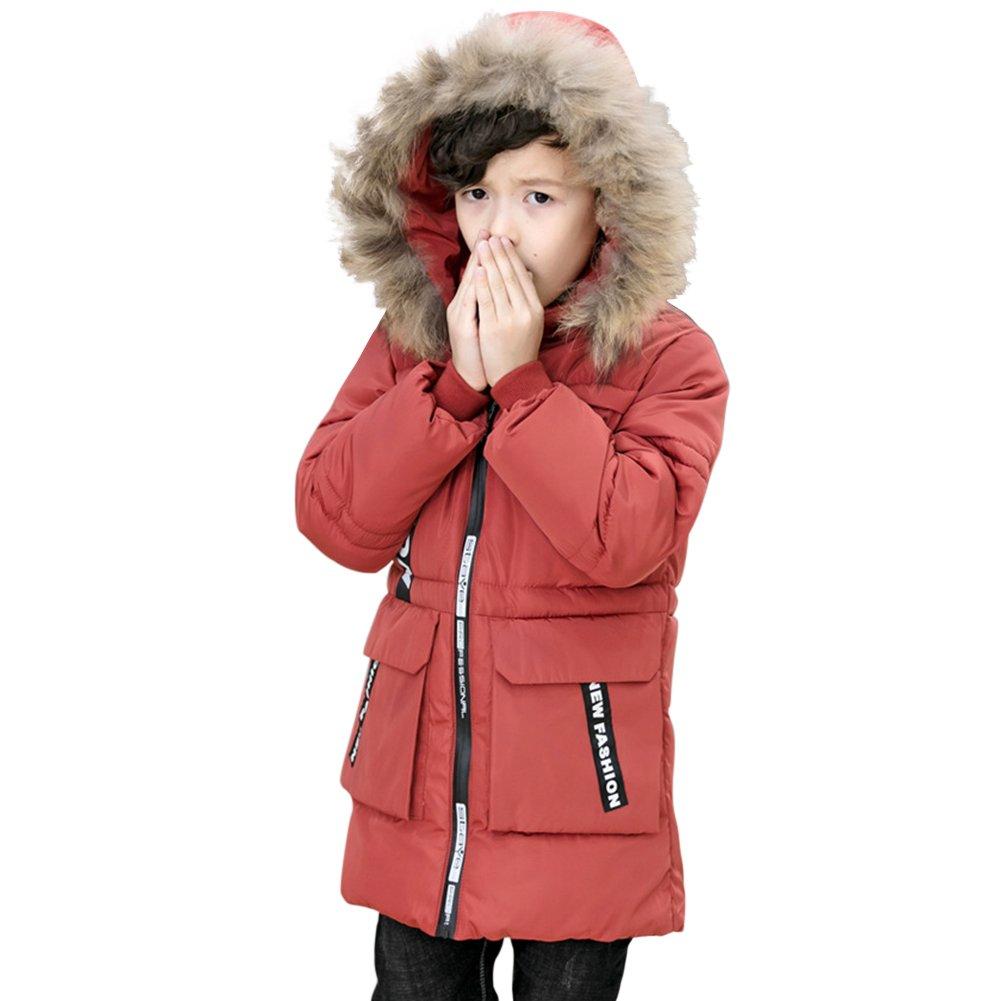 CHIC-CHIC Kids Boys Winter Hooded Coat Padded Warm Faux Fur Trim Hoodie Puffer Down Jack Outwear