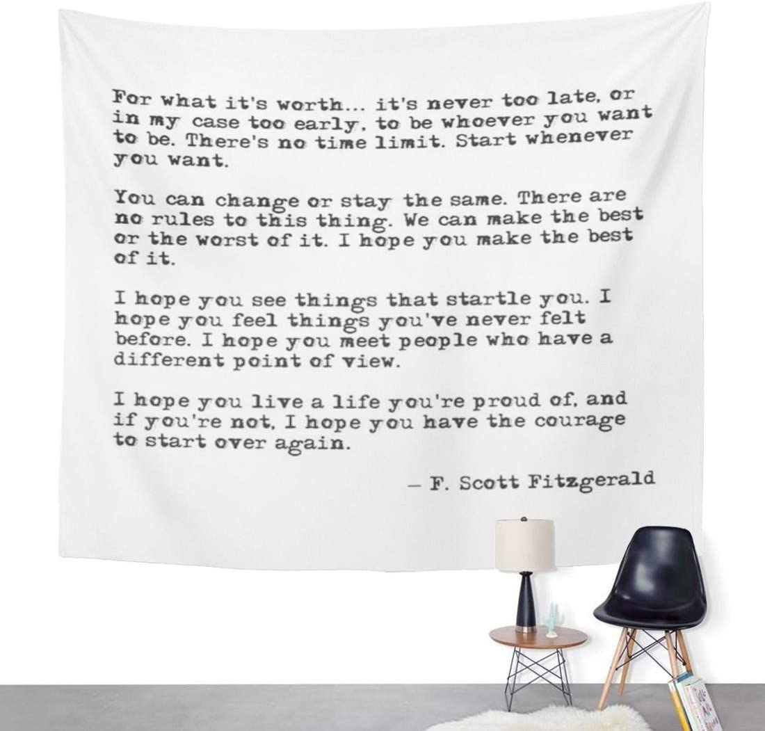 ArtSocket Tapestry What It Worth F Scott Fitzgerald Home Decor Wall Art Hanging for Living Room Bedroom Dorm 50 x 60 Inches Tapestry