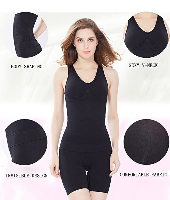f5c4f16b5cf Amazon.com   Lingssss Slimming Tank Top with Built-in Bra Removable Pads V-Neck  T-Back