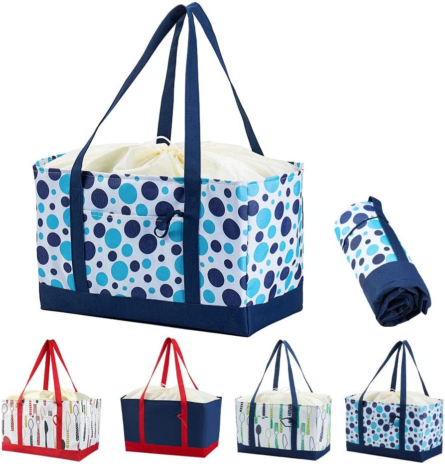 Reusable Grocery Bag with Long Handle, Large Thermal Insulated Cooler Bag Keep Food Cold/Warm for Kitchen, Delivery, Shopping & Picnic, 30L Heavy Duty & Foldable Food Transport Bag -Iknoe Blue Dots